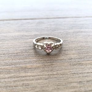 Silver & Pink Heart of Love Fashion Ring